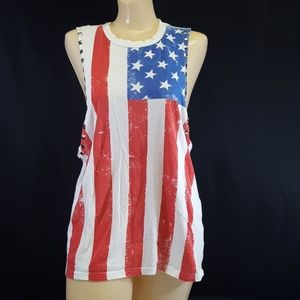 Forever 21 Tank Top Blouse (M) Flag Studded Cotton